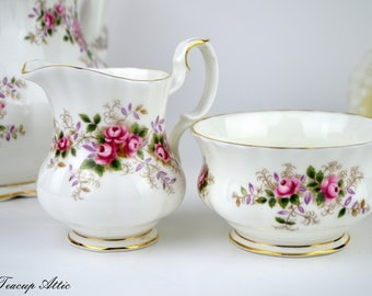 Royal Albert Lavender Rose Small Cream and Sugar Set, Replacement china, ca. 1960