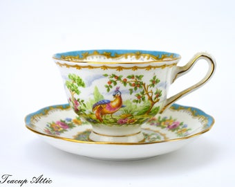 Royal Albert Blue Chelsea Bird Teacup and Saucer, Vintage English Bone China Tea Cup, Wedding Gift,  ca. 1941