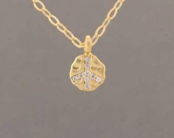 Swarovski Crystal Peace Sign Gold Necklace Also Available in Silver and Rose Gold