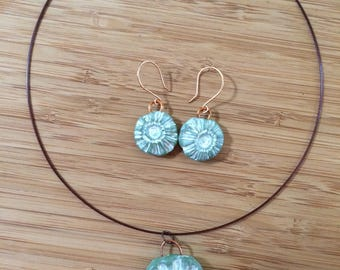 Sage Daisy Polymer Clay Pendant and Earrings Set