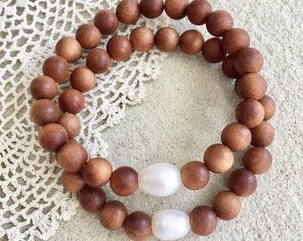 sandalwood bracelet, beachcomber pearl bracelet, healing bracelet