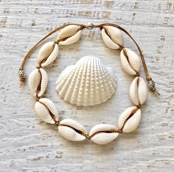 cowrie shell anklet, mermaid jewelry, beach anklet, beachcomber jewelry