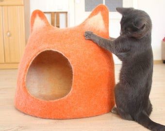 Pet houses - Cat bed - cat cave - cat house - pets storage handmade felted wool cat bed - orange with natural white - made to order