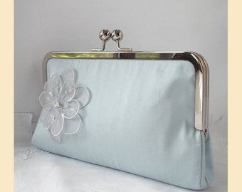 Wedding clutch bag, blue silk, floral purse, Swarovski crystal, bridal purse, bridesmaids clutch, personalisation