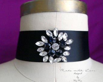 Victorian Choker Necklace, black rhinestone crystal wide black choker luxury style Jewelry Gothic goth Gypsy Great Gatsby