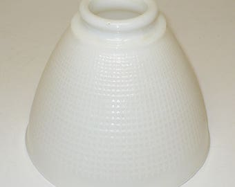 """6"""" Milk Glass Diffuser Shade 2-1/8"""" Fitter Waffle Pattern"""