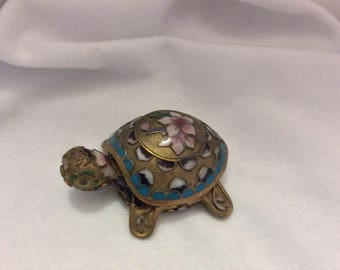 Vintage antique gold, turquoise, pink, navy blue, white and green mini Cloisonné tortoise with removable lid -in gift box.