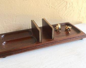 Mid-Century Swank Dark Wood and Gold Metal Dresser Valet Organization Jewelry Phone Wallet Storage Vanity Tray