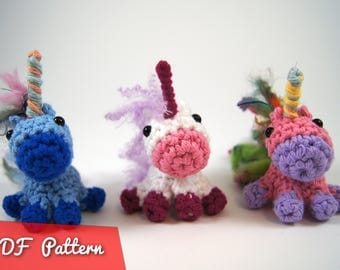 PDF Pattern for Crocheted Unicorn Amigurumi Kawaii Keychain Miniature Doll