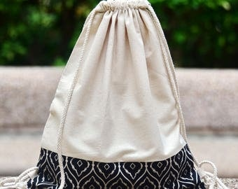 Drawstring backpack/ Cotton backpack/ Drawstring bag/ handmade backpack/ Gym bag/ Swim bag ~ Black and white (B110)