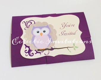 Whimsical Woodland Owl Baby Shower Invitations - set of 20