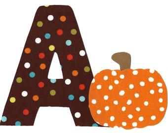 Halloween pumpkin iron on applique plus pick any initial  DIY
