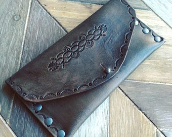 Leather Aztec tooled wallet