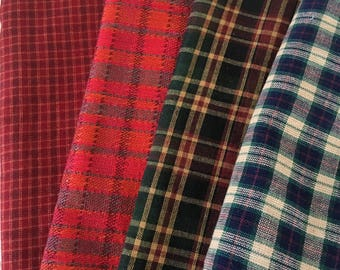 Craft Country Plaid Fabrics. Red, Blue and Green Plaids. Homespun Country Plaid Fabrics for Crafting.