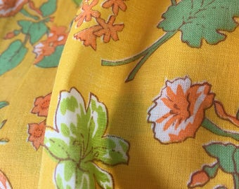 Craft 1950s Yellow Floral Fabric. 3 Yards of Bright Yellow Orange and Green Floral Fabric. Good for Little Girl's Dress.