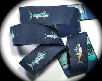 """Fish  Woven Jacquard Ribbon 1"""" - Navy, Yellow Turquoise and  White"""