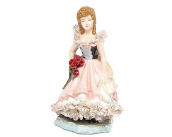 Vintage Chalkware Lady Figurine Hand Painted Plaster Real Lace Dresden Style Germany 1948 Statue