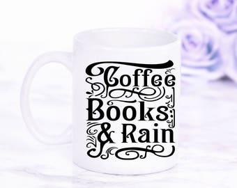 Coffee Books & Rain Book Mug, Typography Mug, Gifts For Bookworms, Literary Coffee Mug, Gift For Coffee Lovers, UK