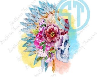 Floral Skull Watercolor Headdress Sublimation Heat Transfer Pre Made DIY Iron On Personalized HTV Vinyl You Choose