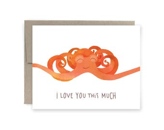 I Love You This Much Octopus Greeting Card, Valentine's Day Card, Funny Valentine's Day Card, Anniversary Card