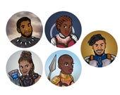 PREORDER Black Panther T'Challa Shuri Nakia Okoye Killmonger Superhero 1 inch Button