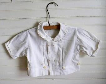 Vinatge Baby Blouse, Baby Boy Top, White Cotton Blouse, Infant Top, 1950s Baby Clothing, Vinatge Baby Clothing Kids Vintage Clothing, Blouse