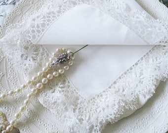 "ANTIQUE DOILY, SQUARE linen and lace, 14"" X 14"" square for tables or night stands, excellent condition"