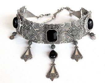 Gargantilla gótica Collar étnico marroquí collar gargantilla gótica gargantilla Tribal negro ónix negro gótico collar negro joyería étnica