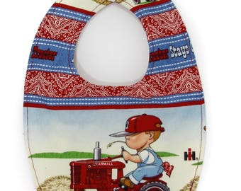 IH Farmall Little Farmer Baby Bib, Newborn-6 Month size