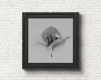 Digital download | FORGOTTEN NO.2 | macro flower photo | printable botanical wall art | minimalist flower art print | modern grey wall decor