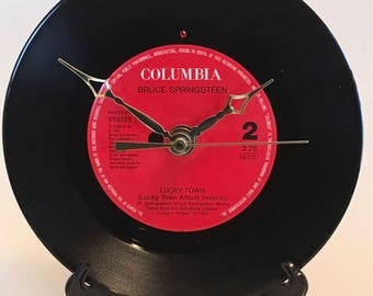 """Recycled BRUCE SPRINGSTEEN 7"""" Record / Lucky Town / Record Clock"""