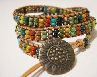 Beaded wrap bracelet,Leather Wrap Bracelet, Triple Wrap, Boho bracelet - 929