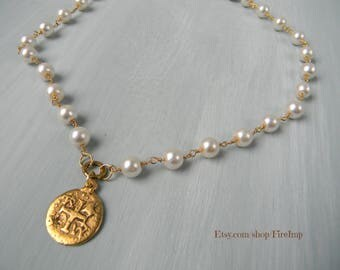 The Isabella - Dainty Boho Layering Necklace - Pearl Necklace with Coin