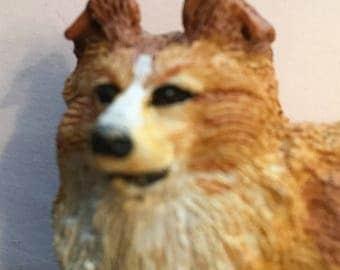 French Figurine, Golden Collie Dog, White, Tan, Mid Century Vintage SUMMER SALE