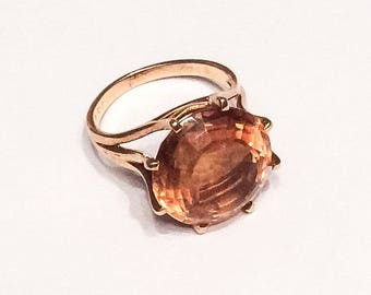 Citrine Ring, 18K Gold, Dress Ring, Mid Century Vintage Jewelry, SUMMER SALE
