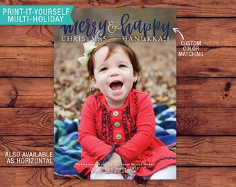 Printable Multi-Holiday Card - Merry Happy