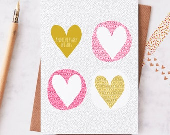 Anniversary Wishes greeting card. Contemporary greeting card. Love card. UK made greeting cards