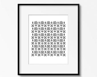 Floral 8x10 printable - digital download  - black and white art - DIY home office decor - printable wall art