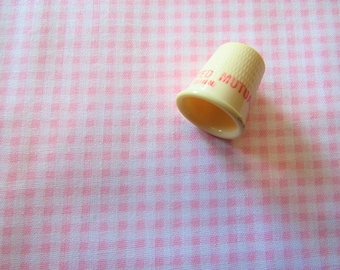 light pink gingham print vintage cotton blend fabric -- 44 inches by 1 yard