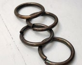 """14g Huge 1/2"""" Antiqued Brass Jump Rings 1/2"""" ID, 17mm Jumprings, Large Saw Cut Open, Aged Oxidized Solid Brass Findings"""