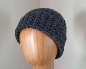Dark Gray Cashmere Hat, Hand Knit, Luxury Natural Fiber, Gift for Him Her, Beanie Watch Cap, Lightweight Hat