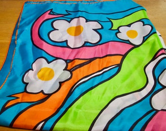 Vibrant Vera Floral Mod Silk Scarf