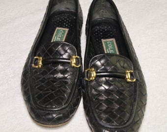 Vintage Cole Haan Leather Weave Womens Black Loafers