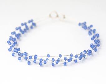 40_Something blue for bride, Blue wedding headdress, Cornflower crystal crown, Blue crystal crown, Silver wedding hair crown, Headdress.