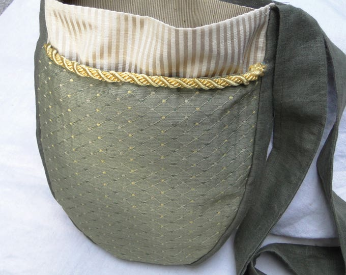 Renaissance Tapestry Bag, Medieval Purse, Cross Body Large, Deep Pockets - Olive Green Diamond w/ Gold Trim