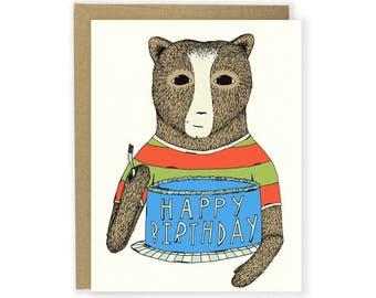 Birthday Card - Birthday Bear - Happy Birthday, Kid's Birthday, Fun Birthday Card, Birthday Cake, Animals in Clothes, Bear Birthday Theme