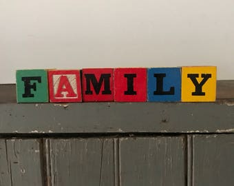 """Vintage baby blocks, primary colors, """"FAMILY"""""""