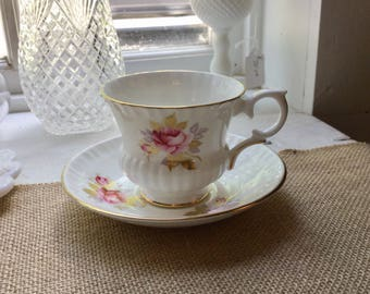 Vintage Crown Stafford Bone China England,Floral Tea Cup and Saucer