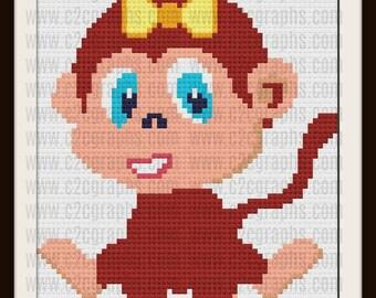 Baby Girl Monkey Afghan, C2C Graph, Written Word Chart, Crochet Pattern