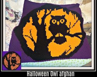 Halloween Owl Afghan, C2C Graph, Written Word Chart, Crochet Pattern, Owl C2C Graph, Halloween C2C Graph, Owl corner to corner